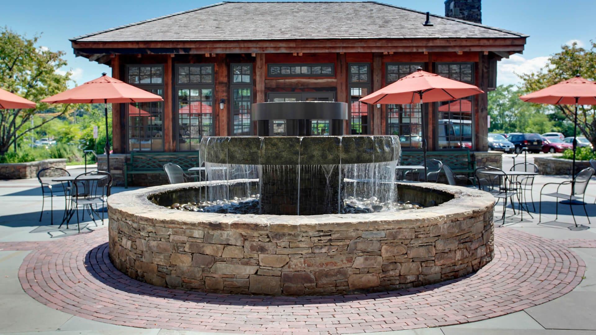 Decorative Fountain With Blue Stone & Brick Patio, Rrytown Ny