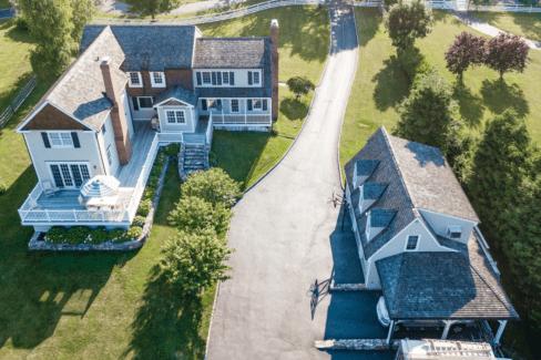 western grade a cedar shingle roof ipea cedar deck copper valleys fieldstone bluestone garage katonah westchester aerial