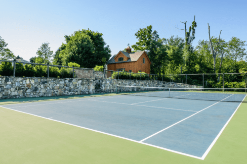 tennis court blacktop regulation timber frame pool house cedar post fencing katonah westchester