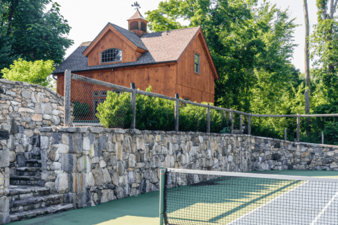 timber frame pool house cedar post fencing tennis court blacktop regulation katonah westchester