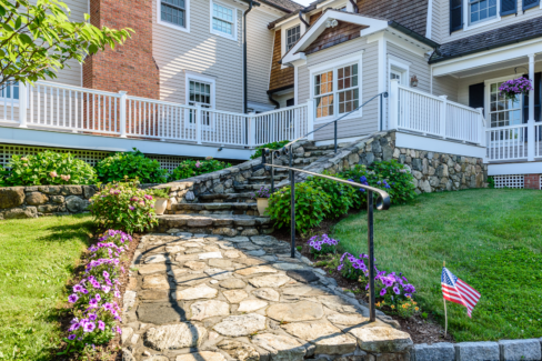 connecticut fieldstone stairs pennsylvania bluestone walkway custom iron rail belgian block border driveway katonah westchester
