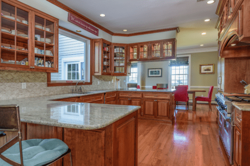 kitchen renovation cherry cabinets ambient recess lighting granite countertops katonah westchester