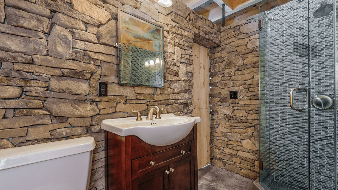 Timber frame pool house bathroom