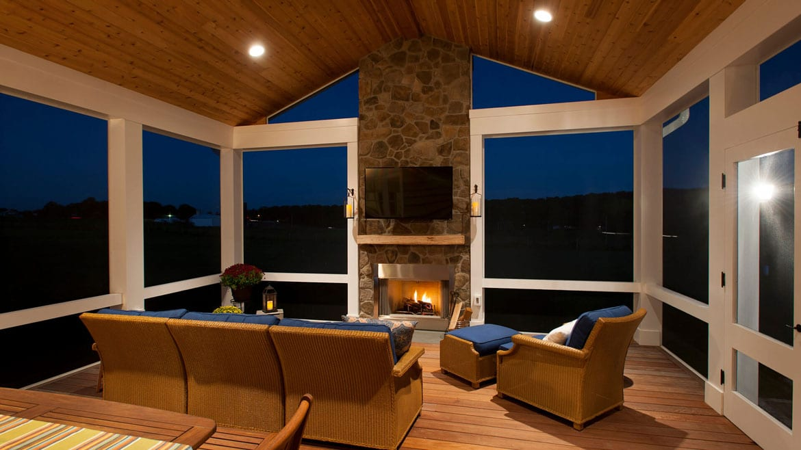 screened in porch over mahogany deck with fireplace in North Salemn, NY