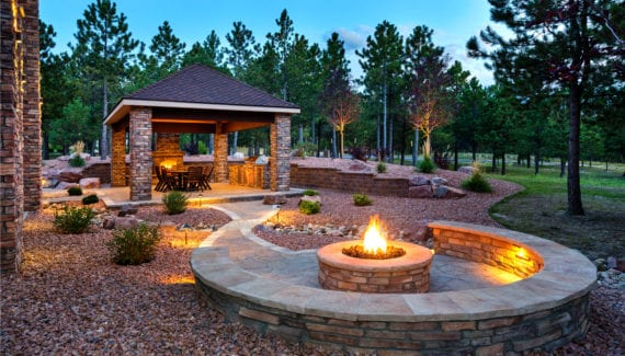 luxury outdoor backyard fire pit stock
