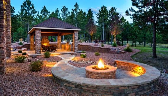 luxury outdoor backyard fire pit stock