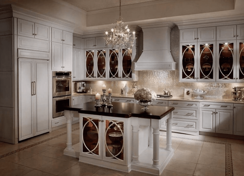 white-glass-front-cabinets-traditional-gothic-arches-luxury-kitchen-remodel