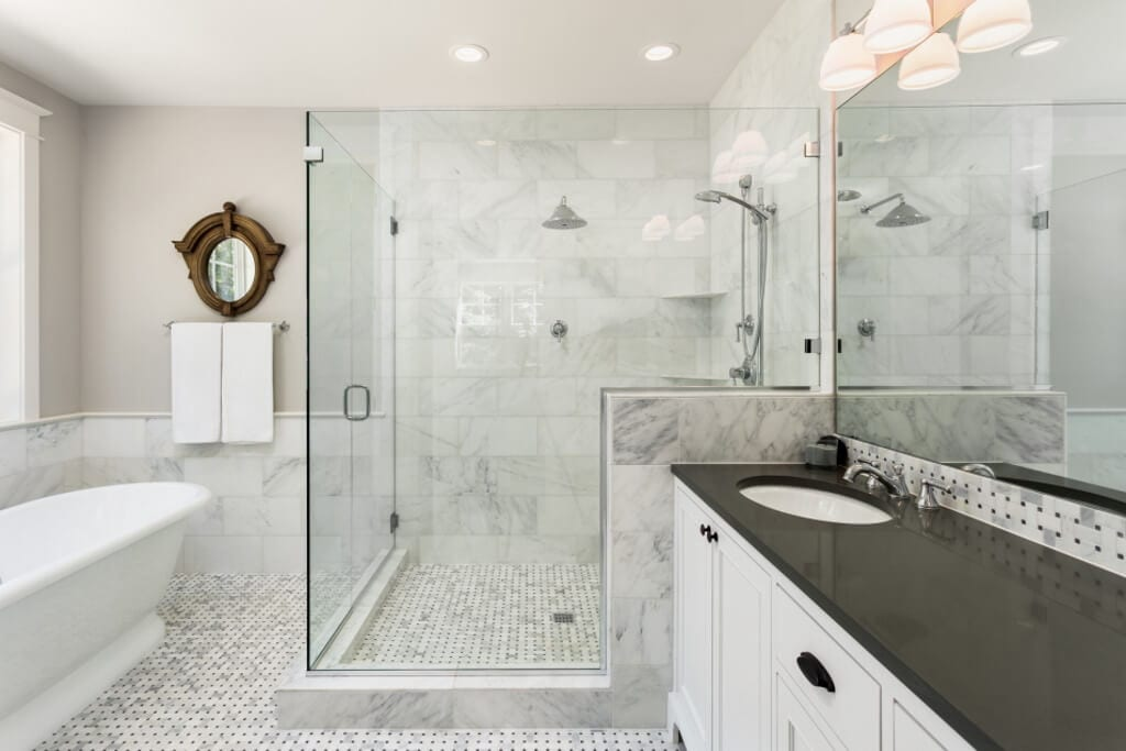 Modern Italian Marble Bathroom With Glass Showe Reenwich Ct Gerety Building Restoration